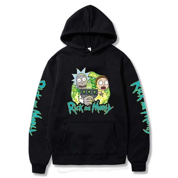 Rick And Morty Printed Hoodies Cozy Tops Pullovers Hooded Sweatshirts