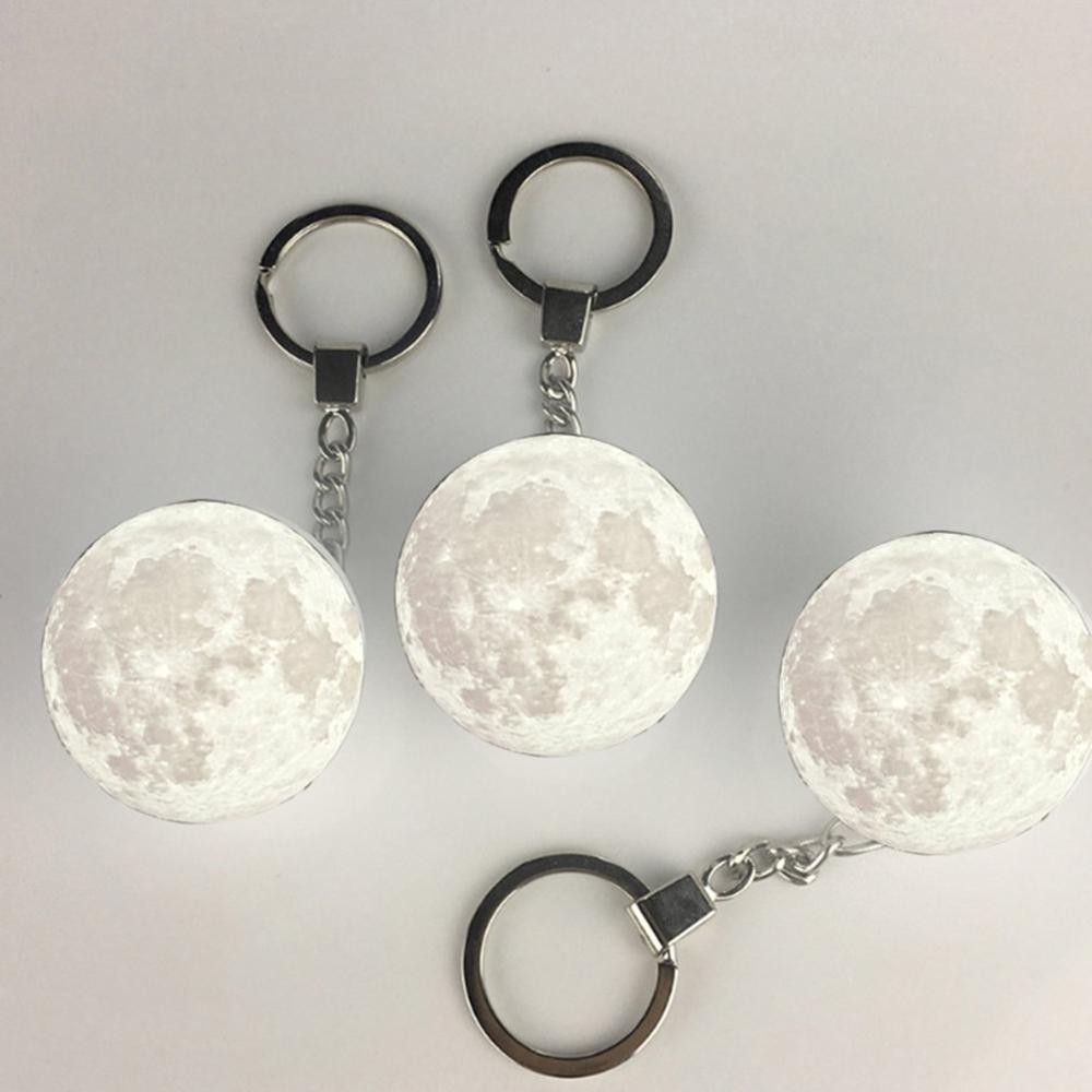 Portable 3d Unique moon shape decoration Keychain Night Light - White White Light durable and practical gift