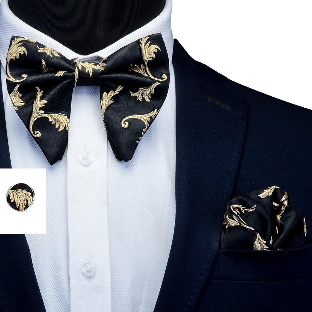 Ricnais 3PCS Silk Floral Big Bowtie Pocket Square Cufflinks Set Mens Red Bule Jacquard Handkerchief Bow Ties Sets Suit Wedding