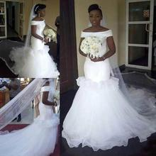 White Satin Mermaid Wedding Dress Luxury Charming Ruffle African Mermaid Wedding Dresses Plus Size Bateau ruffle trim bowknot plus size printed dress