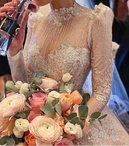 Image 5 - Vintage Vestidos De Novias High Kragen O Neck Bling Bling Glitter Stoff Langarm Ballkleid Muslimische Hochzeit Kleider