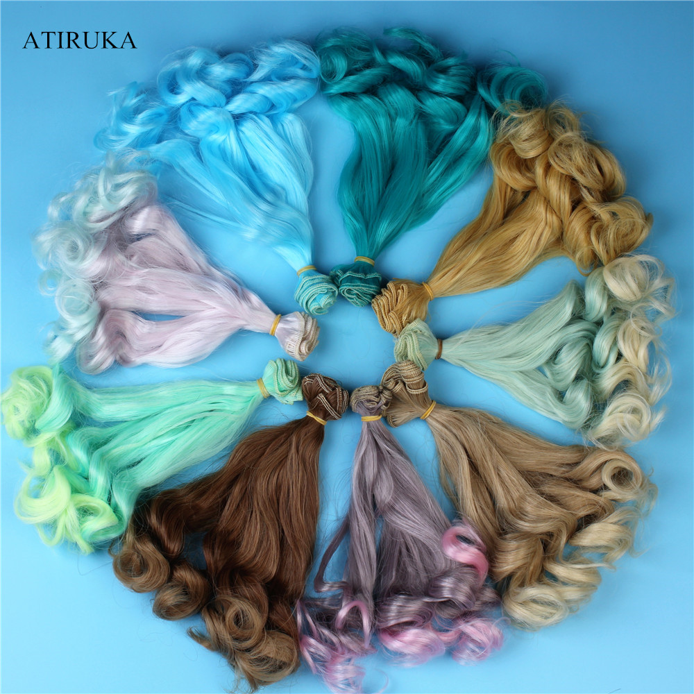 BJD Wig Accessories For Dolls 1Piece 20*100cm Doll Hair For 1/3 1/4 1/6 Gradient Color Curly BJD Wigs Kid's Gift Toy