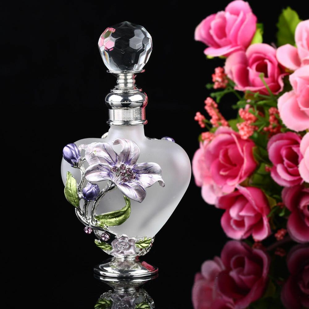 5ml Vintage Heart Shape Manual Painting Empty Refillable Metal Glass Perfume Bottle Wedding Gift