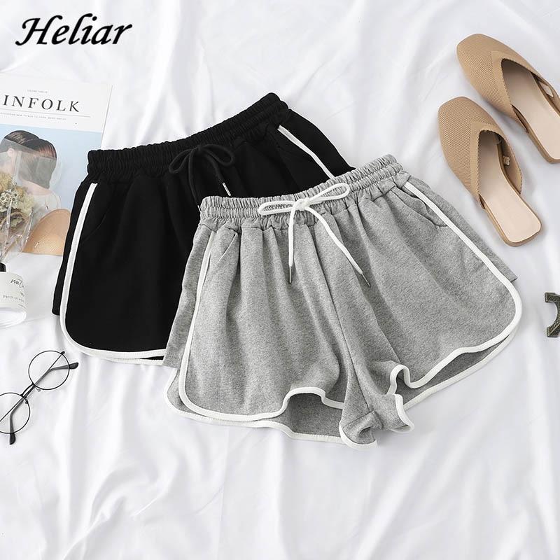 HELIAR Spring Women Sports Shorts Femenino High Waist Wide Leg Elastic Band Super Short Hot Casual 2019 Summer Femme Shorts