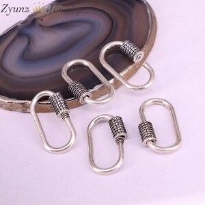 Image 3 - 5 pièces, mousqueton Antique couleur argent connecteur fermoir Micro pavé CZ Vintage fermoir pour la fabrication de bijoux