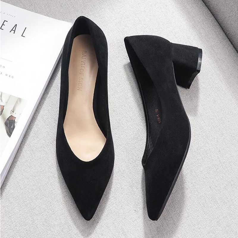 靴の女性 2019 春黒スリップ正方形のハイヒールの靴女性フロックポイント低ハイヒール女性の靴オフィス女性のサンダル