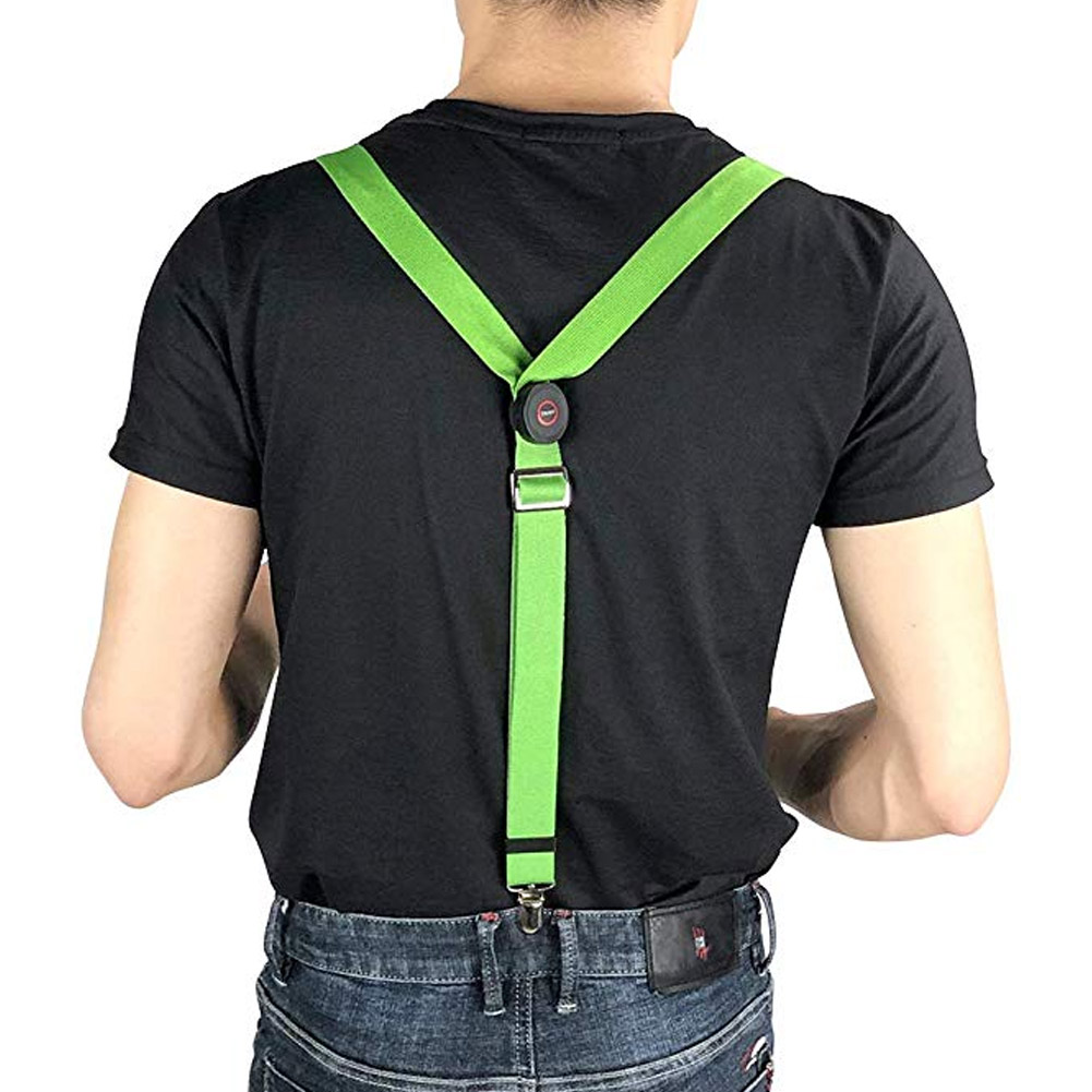 Hot 2019 Women Men LED Glow Light Up Night Running Non-Slip Suspenders Adjustable Elastic Outdoor Sports Solid Color Suspenders