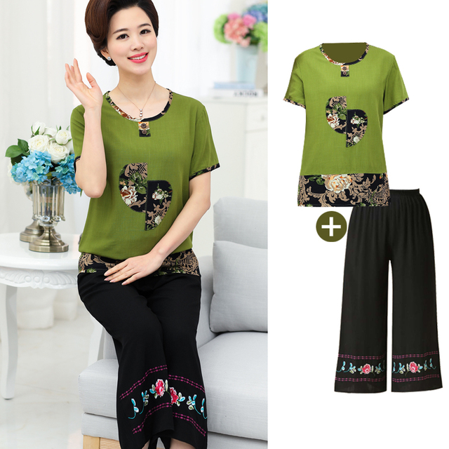 Women Sets 2 Pieces Emulation silk Clothing Set Large Size XL-6XL 2018 Summer Middle aged mother High quality brand Tops+Pants 2