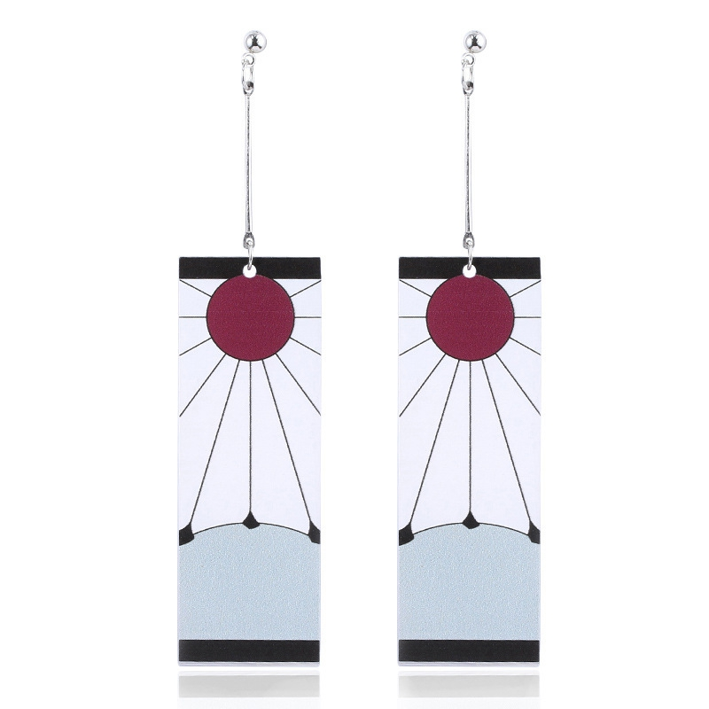 Anime Acrylic Drop Earrings Demon Slayer Kimetsu no Yaiba Blade of Ghost Earings For Women Men Cosplay Jewelry Accessories Gift