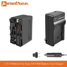 8700mah NP F970 NP-F960 NP-F970 F950 Battery+Car Charger For Sony MVC-FD91 MC1500C L10 TR555 VX2200E D77 PLM-100 CCD-TRV35 L70