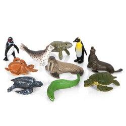 Мини-экшн и игрушки, фигурка морской воды, животные, морская жизнь, пингвин, Акула, Кит, дельфин, Коллекционная модель, фигурка, обучающая игр...