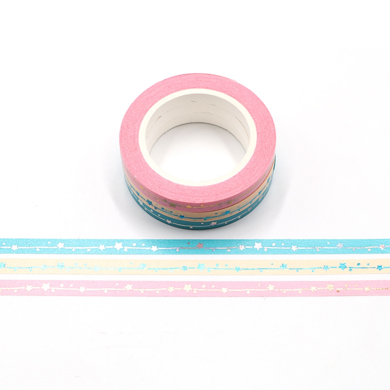 NEW 10M Cute Decorative Foil Stars Thin Washi Tapes DIY Scrapbooking Sticker Label Japanese Masking Tape School Office Supply