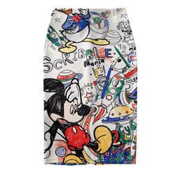 Для женщин юбка-карандаш 2019 новый мультфильм Мышь принт Высокая талия узкие юбки Молодая Девушка Лето Большой Размеры Япония женский Falda SP534