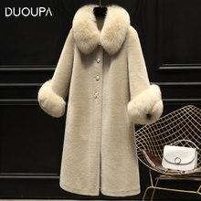 DUOUPA 2019 New Fashion Womens Granules Sheep Skin Suede Fur Coat Ladies Long One Fox Elegant Temperament Female