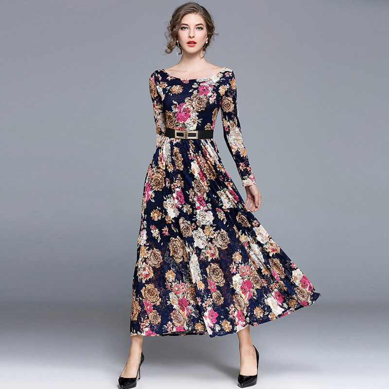 Ozhouzhan 2018 Debutante Elegant Autumn And Winter New Style WOMEN'S Dress Long Sleeve European Goods Fashion Lace Long Skirts D