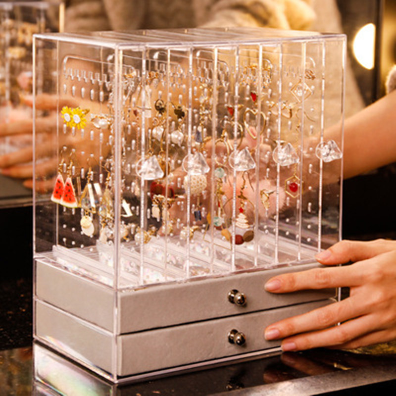 Multifunction earrings jewelry storage box holder exquisite packing jewelry net red ear clip bag multi-layer box High-capacity