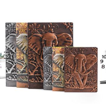 3D Elephant Embossed Notebook Journal Notepad Travel Diary Planner Business School Office Supplies 3d carving owl embossed notebook journal notepad travel diary planner sketchbook school office supplies d08b