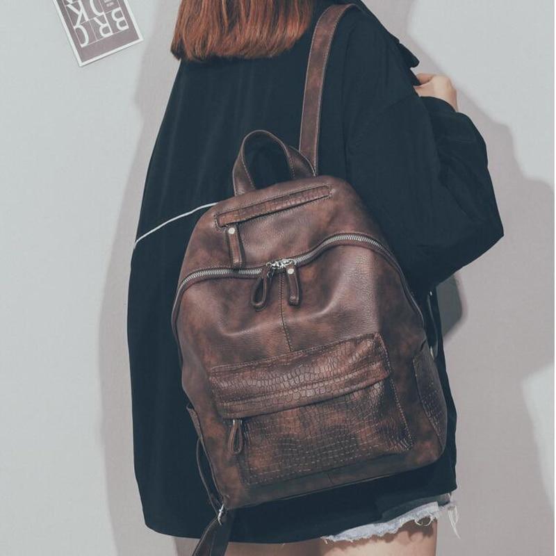 Fashion Women Leather Backpack Alligator School Backpacks For Tenagers Girl Large Capacity Vintage Female Shoulder Bag Sac A Dos