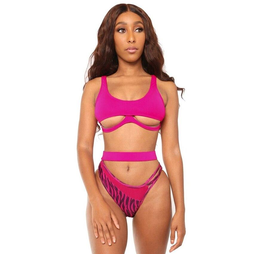 Bikini 2020 Push Up Swimsuit Tanga Sexy Swimwear High Leg Womens Bandage Bikiny Two Piece Cut Out Swimming Suit Female