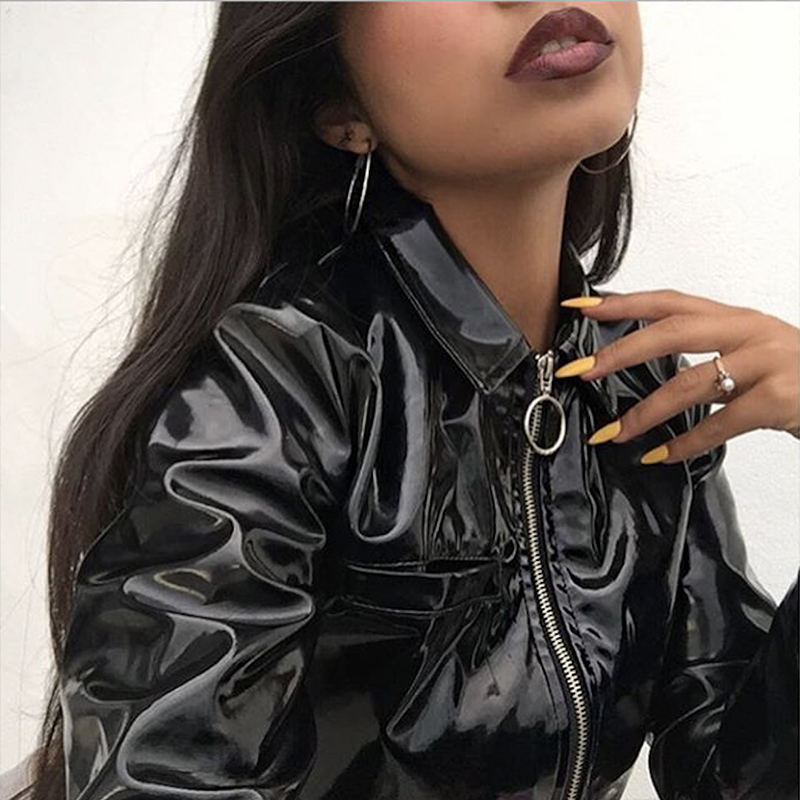 Womens Short Patent Leather Jacket Shiny Glossy Street Casual Top Girl Black