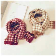 Korean Knit Wool Plaid Patchwork Soft Warm Autumn Winter Thick Kids Children Boys Girls Shawls Wraps Scarves Accessories-LHC children autumn and winter warm clothes boys and girls thick cashmere sweaters