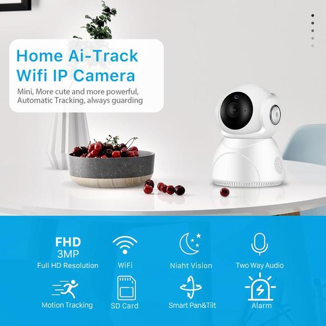 Caméra de surveillance IP WiFi hd 3MP (V380), dispositif de sécurité domestique sans fil, avec suivi ia, panoramique/inclinaison, Vision nocturne, Cloud P2P, application 2