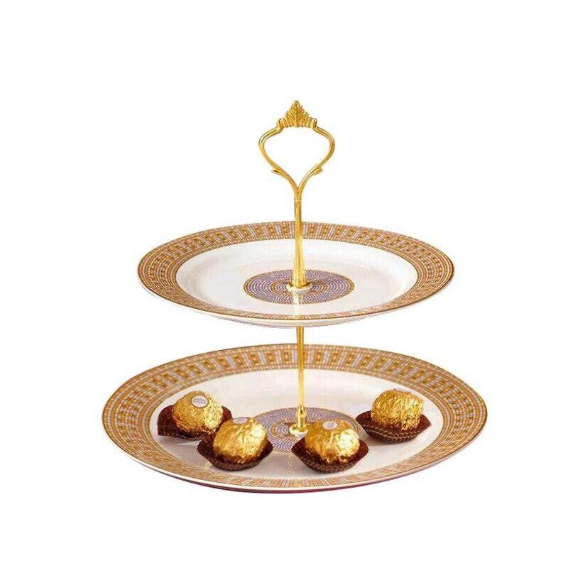 Europea 2-capa pastel placa boda hotel pastel de cumpleaños de doble-capa té bandeja de fruta vajilla de cerámica de mesa de almacenamiento Organizador de cajas y cajones, bandejas para almacenamiento en el hogar y la Oficina, cubertería, armario, caja de escritorio, cajón, bandeja organizadora, cubertería, papelería