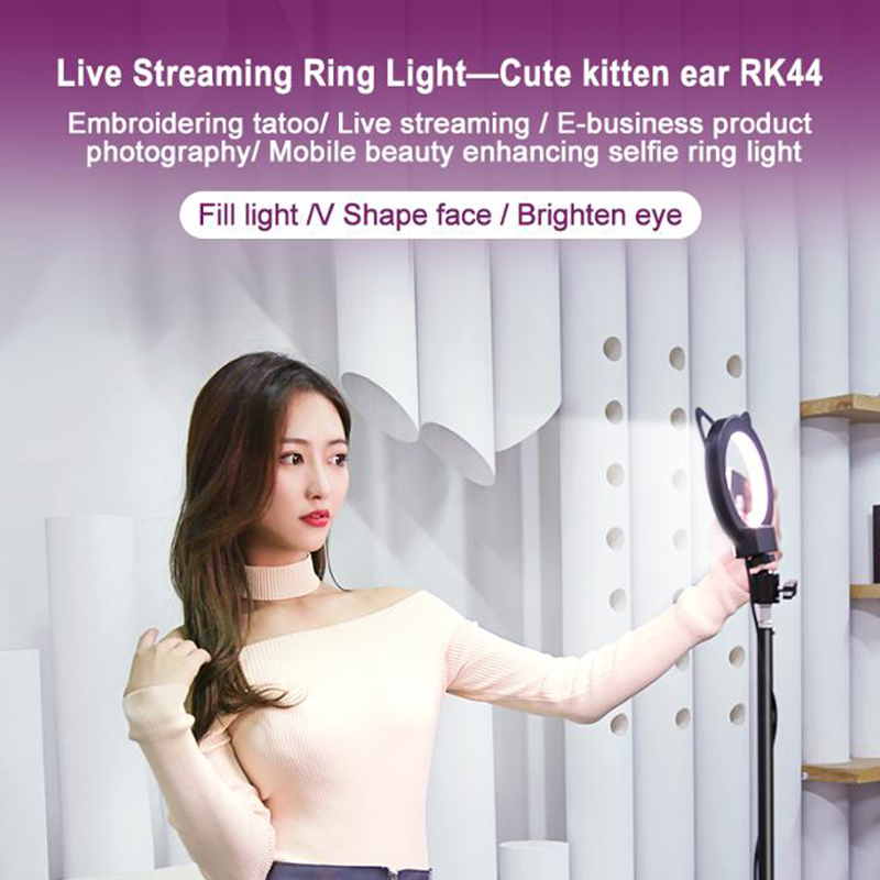 2020 cat design Selfie Ring Light Cute Design Cat 5 inch Photo Camera Ring Light With Tripod USB Plug For Phone Holder Make Up