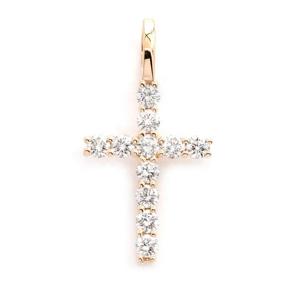 LOZRUNVE à la mode thème croix pendentif chaîne en or collier bijoux 925 argent