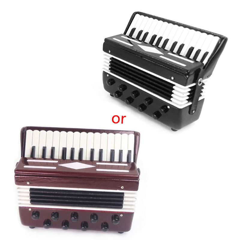 1/12 Dollhouse Wooden Accordion Miniature Musical Instruments Model Collection 19QF