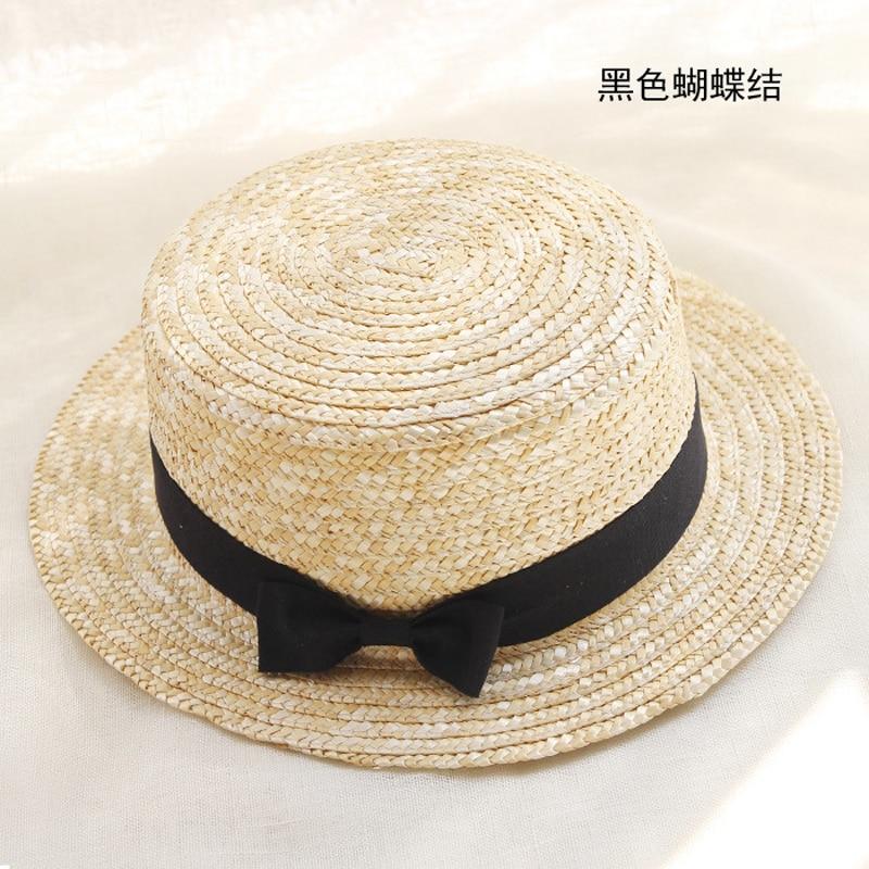 Image 2 - YOYOCORN Outdoor Beach Summer Caps Chapeu Feminino Bow Handmade Weave  Sun Hats For Women Black Ribbon Up Large Brim Straw HatMens Sun Hats   -