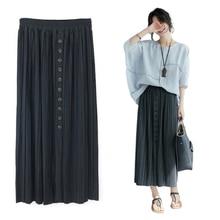 Женские длинные юбки для дам, плиссированные юбки для женщин, s Harajuku, плиссированные элегантные миди юбки макси с эластичной талией, летние юбки