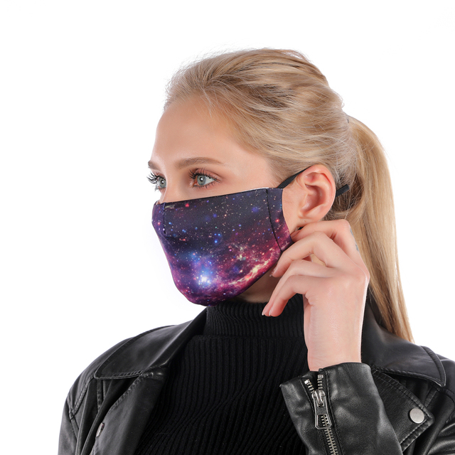 Zohra Starry Sky Printing Reusable Protective PM2.5 Filter mouth Mask anti dust Face mask bacteria proof Flu Mask dropshipping 1