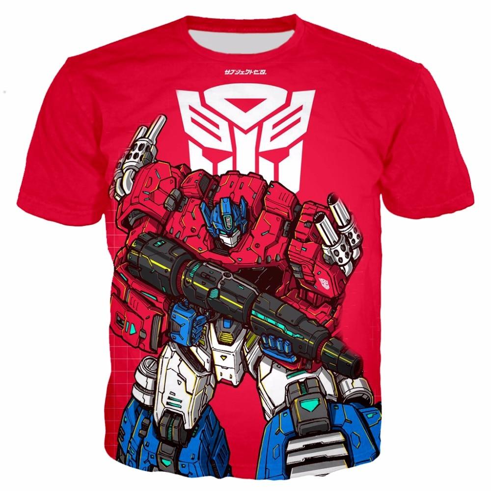 Plstar cosmos transformação robô 3d impressão meninos t camisas crianças autobots t crianças verão curto estilo superior-1