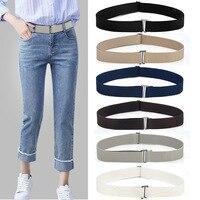Cinturón elástico de talla ajustable para mujer, cinturón elástico con hebilla plana, Color sólido, suave, Invisible, pantalón con cinturón