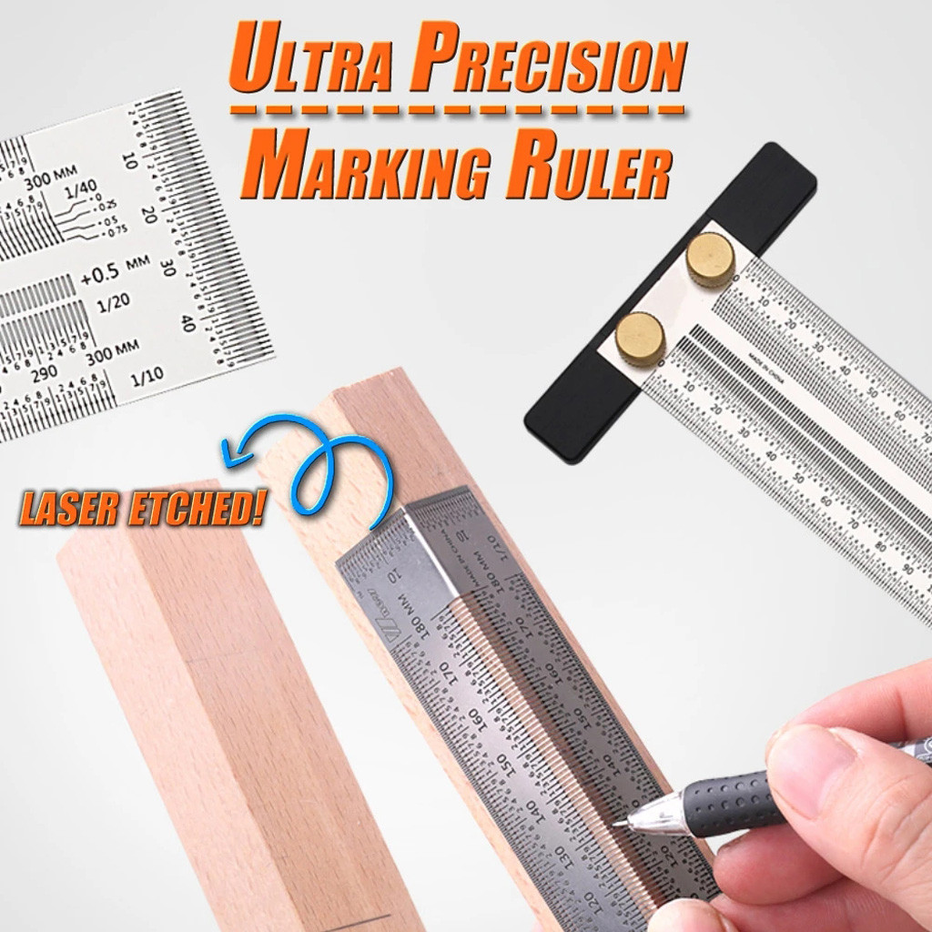 Ultra Precision Marking Ruler Scale Ruler Right-Angle/T-type Hole Stainless Scribing DIY Woodworking Mark Line Gauge Carpenter
