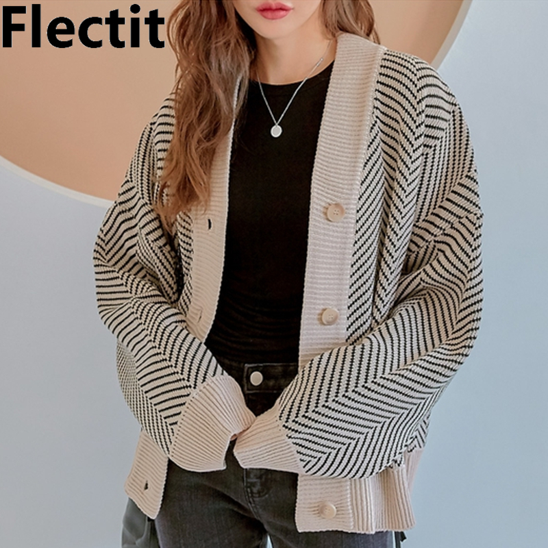 Flectit Casual Knitted Cardigan Oversize Button Front Contrast Stripe Cardigan Autumn Winter Women Sweater Feminino Tops *