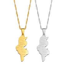 Anniyo tunisie mapa & nome das cidades pingente colar correntes cor ouro/cor prata tunisienne jóias tunísia feminino menina #214321