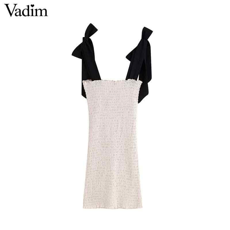 Vadim женское сексуальное облегающее мини-платье эластичный плиссированный регулируемый галстук-бабочка ремни женские повседневные тонкие шикарные платья QC593