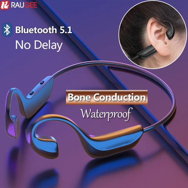 Bone Conduction Wireless Bluetooth Earphones Waterproof Wireless Bluetooth Headset blutooth 5 1 Sport Headphones with Microphone