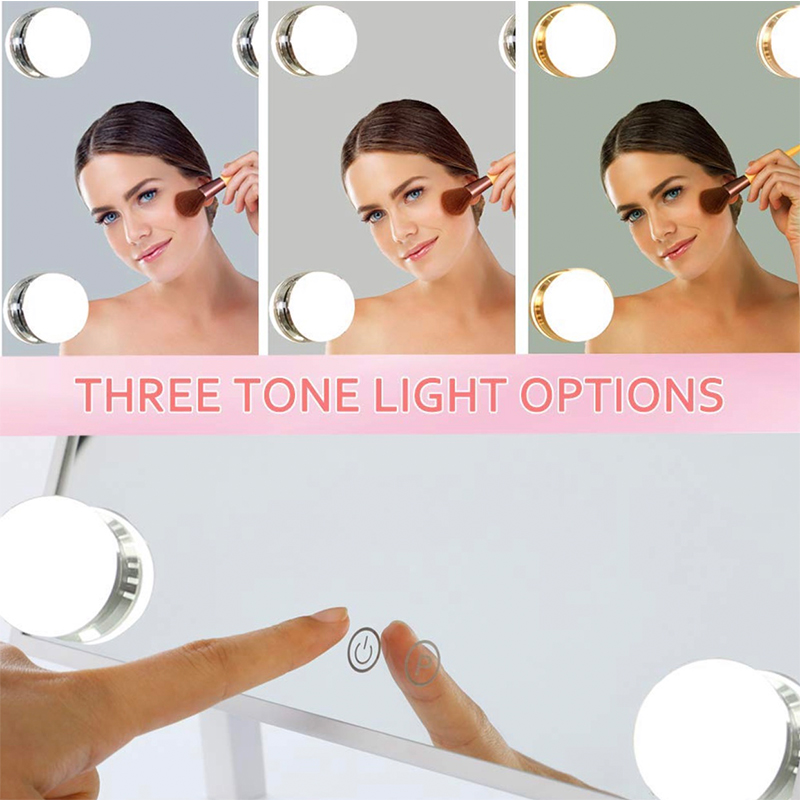 Голливудский стиль освещенный туалетный столик макияж зеркало с светодиодные лампы сенсорное управление косметические зеркала с подсветк... - 3