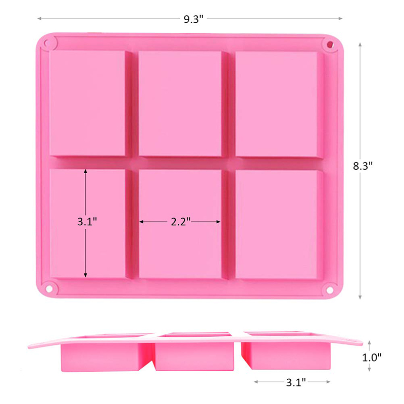 Leeseph 6 Cavities DIY Handmade Soap Moulds, Cake Pan Molds for Baking, Biscuit Chocolate Mold, Ice Cube Tray, Colors Random