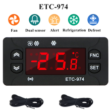 ETC-974 Mini Regulator temperatury lodówka termostat Regulator termoregulator termopara NTC podwójny czujnik 220V 40% off