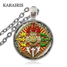 KARAIRIS Tibetan Double Dorje Mandala Necklace Glass Cabochon Tibet Buddhism Cross Vajra Pestle Pendant Necklaces for Men Women