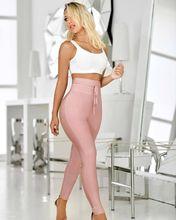 여성 바지 새로운 패션 섹시한 높은 허리 그레이 블랙 붕대 바지 2019 디자이너 레이온 스키니 펜슬 바지