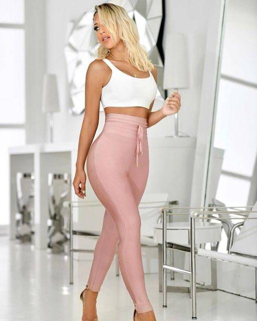 Calças femininas nova moda sexy cintura alta cinza preto bandagem calças 2019 designer rayon magro lápis calças