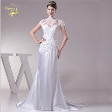 Jeanne Love Mermaid Wedding Dresses 2018 Bridal Dress Satin Applique Lace Beading Cover High Neckline Robe De Mariage JLOV75958