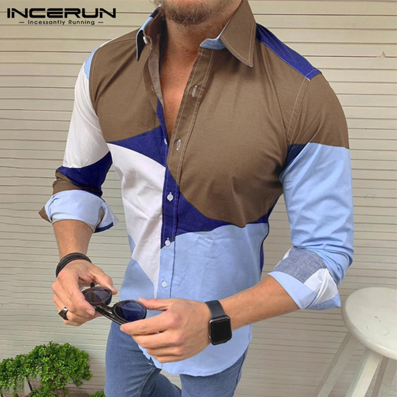 Business Casual Mens Chic Printed Long Sleeve Shirts Lapel Neck Single Buckle Breathable Blouse INCERUN Camisa Masculina 3XL