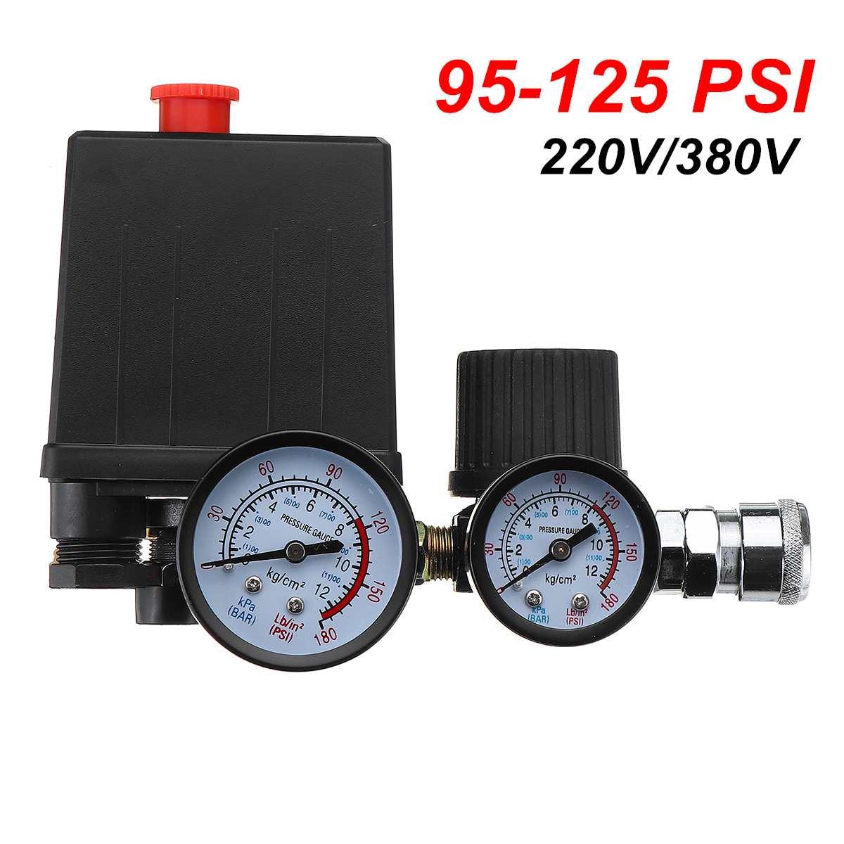 Image 3 - Воздушный компрессор насос переключатель контроля давления 4 порта 220В/380В регулятор сброса коллектора 30 120PSI контрольный клапан с манометромПневматические компоненты    АлиЭкспресс