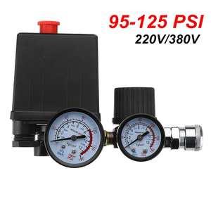 Image 3 - Commutateur de contrôle de pression de pompe de compresseur dair 4 ports 220V/380V régulateur de décharge de collecteur 30 120PSI soupape de commande avec jauge